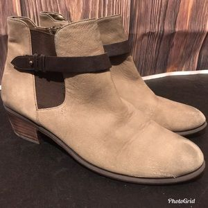 B.P. Brown Ankle Boots with Stretch Panel & Strap